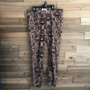 Paige Tan Skinny Jeans with Black Floral Size 31